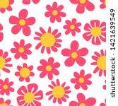 doodle flower seamless pattern. ... | Shutterstock .eps vector #1421639549
