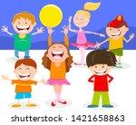 cartoon illustration of happy... | Shutterstock .eps vector #1421658863