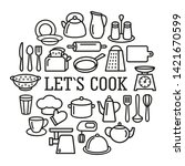 cooking set in circle template...   Shutterstock . vector #1421670599