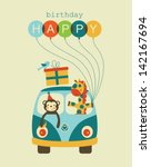 fun happy birthday card design. vector illustration