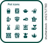pot icon set. 16 filled pot... | Shutterstock .eps vector #1421717783
