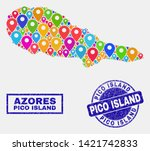 vector colorful mosaic pico... | Shutterstock .eps vector #1421742833