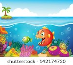 illustration of a sea with... | Shutterstock . vector #142174720