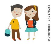 cute schoolchildren | Shutterstock .eps vector #142175266