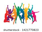 colorful happy group people... | Shutterstock .eps vector #1421770823