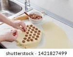 dumplings with minced meat...   Shutterstock . vector #1421827499