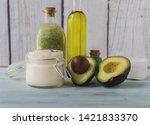 homemade cream  bath salts  gel ...   Shutterstock . vector #1421833370