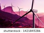wind turbine farm power... | Shutterstock . vector #1421845286