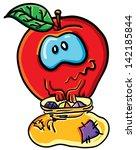 funny cartoon apple on the... | Shutterstock .eps vector #142185844