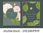 wedding invitation  floral... | Shutterstock .eps vector #1421869949