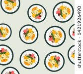 Korean street food seamless pattern with kimbap. Graphic design for background, card, banner, poster, cover, invitation, fabric, header, brochure or menu.