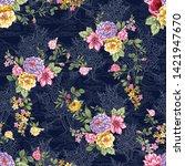 seamless vintage flower pattern ... | Shutterstock .eps vector #1421947670