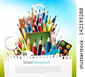 colorful crayons with school... | Shutterstock .eps vector #142195288