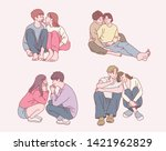 cute couples sitting in a sweet ... | Shutterstock .eps vector #1421962829