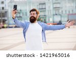 Small photo of Hello world. Man taking selfie photo smartphone. Streaming online video call. Mobile internet. Tourist capture happy moment for blog. Hipster mobile phone blogger. Blog online content. Personal blog.