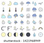 weather line icon set  filling... | Shutterstock .eps vector #1421968949