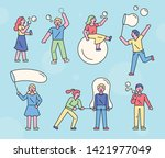 people playing soap bubbles.... | Shutterstock .eps vector #1421977049