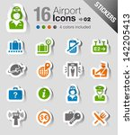 stickers   airport and travel... | Shutterstock .eps vector #142205413