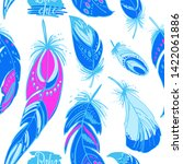 pattern neon feathers and beads.... | Shutterstock .eps vector #1422061886