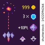 space game in pixel style... | Shutterstock .eps vector #1422096266