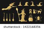 golden halloween witches  hats  ... | Shutterstock .eps vector #1422168356