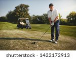 sporty senior man about to make ... | Shutterstock . vector #1422172913