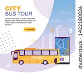 city bus tour flat cartoon... | Shutterstock .eps vector #1422180026