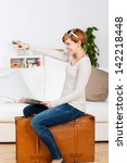side view of woman with map... | Shutterstock . vector #142218448