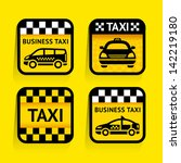 taxi   set stickers square on... | Shutterstock . vector #142219180