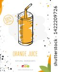 orange juice in a glass. banner ... | Shutterstock .eps vector #1422209726