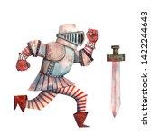 watercolor armed knight. cute... | Shutterstock . vector #1422244643