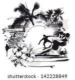 grunge surf scene with rider...   Shutterstock .eps vector #142228849