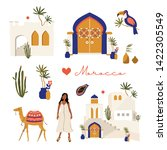 Summer set, hand drawn elements - morocco door, tropical leaf, girl, toucan, camel, old house and other. Perfect for web, card, poster, cover, tag, invitation, sticker kit. Moroccan style.