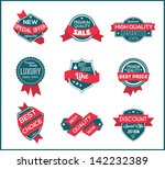 pink marketing label  set 2  | Shutterstock .eps vector #142232389