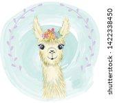 happy cute little llama smiling   Shutterstock .eps vector #1422338450