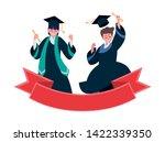 happy students boys graduated... | Shutterstock .eps vector #1422339350