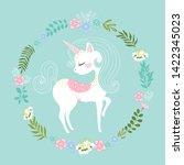 unicorn with flowers vector... | Shutterstock .eps vector #1422345023