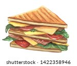 handdrawn sandwich with fresh... | Shutterstock . vector #1422358946