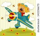 Teddy Bear Fly On A Airplane  ...