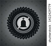 tombstone icon inside dark badge | Shutterstock .eps vector #1422429779