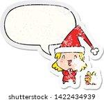 cartoon girl wearing christmas... | Shutterstock .eps vector #1422434939