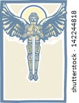 archangel michael in armor and... | Shutterstock .eps vector #142244818