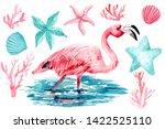 set of watercolor drawings ... | Shutterstock . vector #1422525110