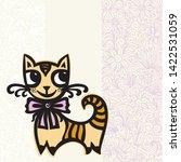 cute cartoon cat and beautiful... | Shutterstock .eps vector #1422531059