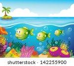 illustration of the three green ... | Shutterstock . vector #142255900