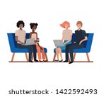 group of people with sitting in ... | Shutterstock .eps vector #1422592493
