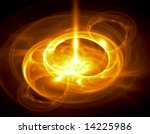 Bright Molten Gold - fractal illustration - stock photo