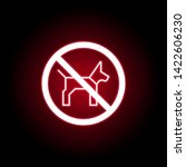 forbidden dog icon in red neon...