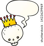 cartoon skull with crown with... | Shutterstock .eps vector #1422629969