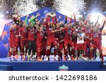 Small photo of MADRID, SPAIN - JUNE 1, 2019: Liverpool players pictured during the award ceremony held after the 2018/19 UEFA Champions League Final between Tottenham Hotspur and Liverpool FC.